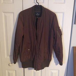American Eagle burgundy longline bomber jacket